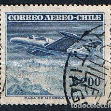 Sellos: SELLO CORREO AÉREO CHILE 1955 BEECHCRAFT MONOPLANO -SELLO USADO. Lote 213552978