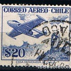 Sellos: SELLO CORREO AÉREO CHILE 1956 DE HAVILLAND VENOM SOBRE ISLA DE PASCUA -SELLO USADO. Lote 213553165