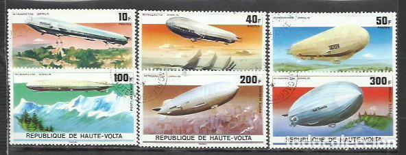 2778-2 SERIES COMPLETAS HAUTE VOLTA ZEPPELIN 1976 Nº385/7 Y AEREO 205/7.AFRICA VENDO SELLOS DE MUCH (Sellos - Temáticas - Aviones)