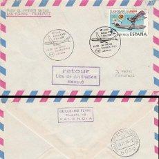 Sellos: AÑO 1978, PRIMER VUELO AIRBUS A 300 DE LUFHANSA LAS PALMAS-FRANKFURT DE 5-11-1978, MARCA DEVOLUCION. Lote 218405701