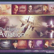 Sellos: GAMBIA 2004 IVERT 4209/16 *** HISTORIA DE LA AVIACIÓN - PERSONAJES Y AVIONES. Lote 218803028