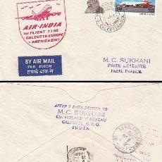 Sellos: INDIA, PRIMER VUELO DE AIR INDIA CALCUTA-EUROPA-AMERICA EN BOEING 747 EL 7-1-1980. Lote 219877345