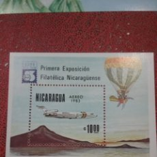 Sellos: HB NICARAGUA NUEVIS/1983/EXPOS/FILATELIA/EXPOFILNIC/AVION/AVIACION/GLOBO/DIRIGIBLE/MONTAÑAS/TRANSPOR. Lote 221821326