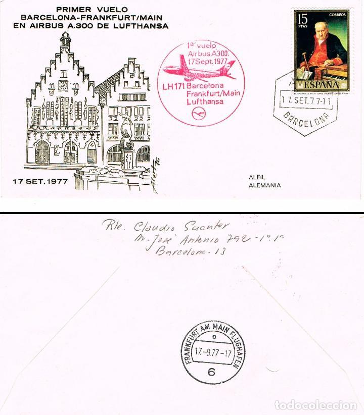 AÑO 1977, PRIMER VUELO BARCELONA-FRANKFURT-MAIN POR LUFTHANSA EL 17-9-1977 (Sellos - Temáticas - Aviones)