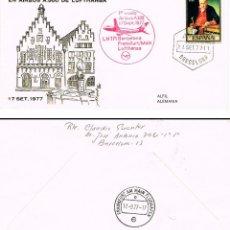 Sellos: AÑO 1977, PRIMER VUELO BARCELONA-FRANKFURT-MAIN POR LUFTHANSA EL 17-9-1977. Lote 222455197
