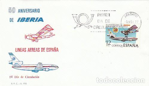 EDIFIL 2448, 50 ANIVERSARIO DE IBERIA LINEAS AEREAS, PRIMER DIA DE 8-11-1977 EN SOBRE DEL SFC (Sellos - Temáticas - Aviones)