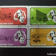 Sellos: BERNERA ISLANDS (ESCOCIA) - PIONEROS DE LA AVIACION - BLOCK - USADO 1ER DIA. Lote 223412252