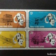 Sellos: BERNERA ISLANDS (ESCOCIA) - PIONEROS DE LA AVIACION - BLOCK - USADO 1ER DIA. Lote 223412488