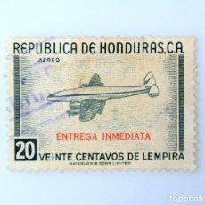 Sellos: ANTIGUO SELLO POSTAL HONDURAS 1956, 20 CENTAVOS, AVION CONSTELACION DE LOCKHEED, USADO. Lote 226080260