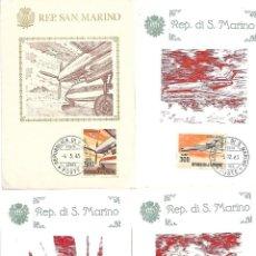 Sellos: AVIONES DE LINEA MODERNA. 11 TARJETAS MAXIMAS. SAN MARINO 1963/65. Lote 228873790