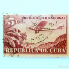 Sellos: SELLO POSTAL CUBA 1932, 5 ¢, AVION FORD 4-AT TRIMOTOR , USADO. Lote 230445115