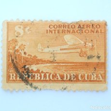 Sellos: SELLO POSTAL CUBA 1948, 8 ¢, AVION SOBREVOLANDO LA COSTA DEL PAÍS, USADO. Lote 230480380