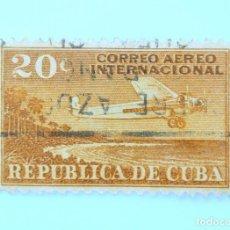 Sellos: SELLO POSTAL CUBA 1931, 20 ¢, C.A.I. 20, AVION SOBREVOLANDO LA COSTA DEL PAÍS, USADO. Lote 230481175