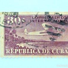 Sellos: SELLO POSTAL CUBA 1931, 30 ¢, C.A.I. 30, AVION SOBREVOLANDO LA COSTA, USADO. Lote 230622880