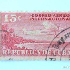 Sellos: SELLO POSTAL CUBA 1931, 15 ¢, C.A.I. 15, AVION SOBREVOLANDO LA COSTA, USADO. Lote 230626880