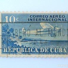 Sellos: SELLO POSTAL CUBA 1931, 10 ¢, C.A.I. 10 , AVION SOBREVOLANDO LA COSTA, USADO. Lote 230645675