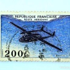 Sellos: SELLO POSTAL FRANCIA 1954, 200 ₣ , AVION NORATLAS, USADO. Lote 231000675