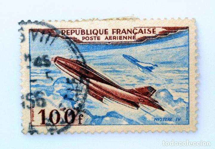 SELLO POSTAL FRANCIA 1954, 100 ₣ , AVION MISTERIO IV , USADO (Sellos - Temáticas - Aviones)