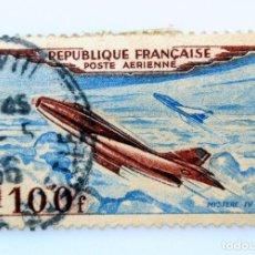 Sellos: SELLO POSTAL FRANCIA 1954, 100 ₣ , AVION MISTERIO IV , USADO. Lote 231004105