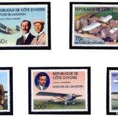 Sellos: REPUBLIQUE DE COTE D`IVOIRE - COSTA DE MARFIL - HISTORIA DE LA AVIACION - YVERT 424/28 - NUEVOS. Lote 231137230