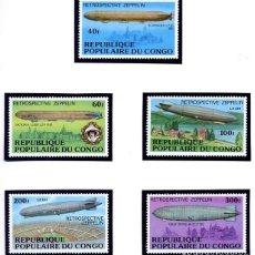 Sellos: REPUBLIQUE DU CONGO - RETROSPECTIVE ZEPPELIN - DIRIGIBLES - SERIE COMPLETA NUEVA. Lote 231137605