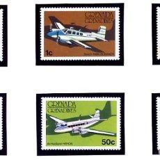 Sellos: GRENADA - TEMA AVIONES - SERIE COMPLETA - NUEVA - 1976 - YVERT 164/69. Lote 231249835