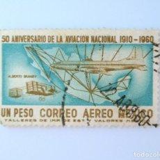 Sellos: SELLO POSTAL MÉXICO 1960, 1 $, 50 ANIVERSARIO DE LA AVIACIÓN NACIONAL, ALBERTO BRANIF, USADO. Lote 232057380