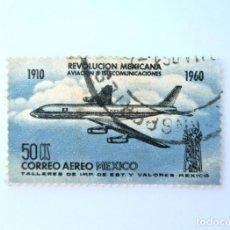 Sellos: SELLO POSTAL MÉXICO 1960, 50 CTS, AVION DOUGLAS DC-8, 50 ANIVERSARIO REVOLUCIÓN MEXICANA, USADO. Lote 232349250