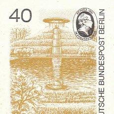 Sellos: ALEMANIA BERLIN IVERT 595, MONUMENTO A OTTO LILIENTHAL (AVIADOR) EN BERLIN TARJETA MÁXIMA 13-11-1980. Lote 232487565