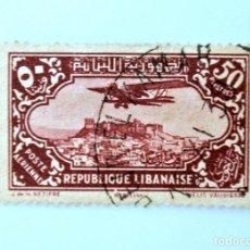 Sellos: SELLO POSTAL LIBANO 1930, 50 PIASTRA, AEROPLANO SOBRE KABELIAS, USADO. Lote 233854195