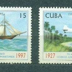 Sellos: CUBA 1997 DAY OF THE STAMP - POSTAL SERVICES MNH - SHIPS, AVIATION, AIRCRAFT, SAILBOATS. Lote 241346400