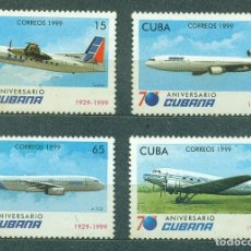 Sellos: CUBA 1999 THE 70TH ANNIVERSARY OF THE CUBAN AIRLINES MNH - AVIATION, AIRCRAFT. Lote 241346895