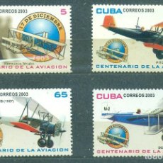 Sellos: CUBA 2003 THE 100TH ANNIVERSARY OF THE POWERED FLIGHT MNH - AVIATION, AIRCRAFT. Lote 241347445