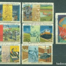 "Sellos: CUBA 1970 THE CUBAN SUGAR HARVEST TARGET, ""OVER 10 MILLION TONS"" U - PRODUCTION, FLAGS, AIRCRAFT,. Lote 241634810"