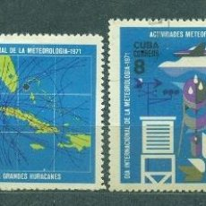 Sellos: CUBA 1971 WORLD METEOROLOGICAL DAY U - SHIPS, SATELLITES, CARDS, THE SCIENCE, AIRCRAFT, RESEARCH,. Lote 241634890
