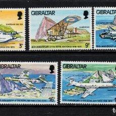 Sellos: GIBRALTAR 379/83** - AÑO 1978 - AVIONES - 60º ANIVERSARIO DE LA ROYAL AIS FORCE. Lote 244556360