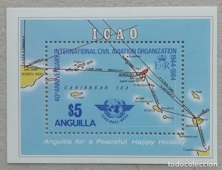 1984. ANGUILLA. HB 61. 40 ANIV ORGANIZACIÓN AVIACIÓN CIVIL INTERNACIONAL. MAPA DE ANGUILLA. NUEVO. (Sellos - Temáticas - Aviones)