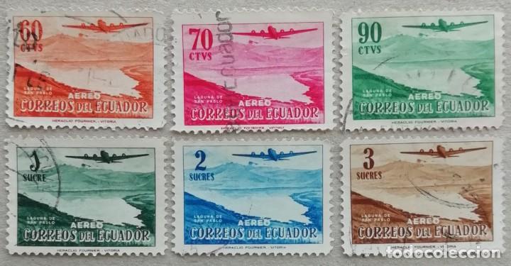 1954. ECUADOR. A 261 / A 266. AVIÓN POR ENCIMA DE LA LAGUNA SAN PABLO. SERIE COMPLETA. USADO. (Sellos - Temáticas - Aviones)