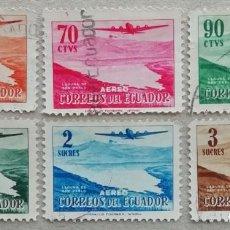 Sellos: 1954. ECUADOR. A 261 / A 266. AVIÓN POR ENCIMA DE LA LAGUNA SAN PABLO. SERIE COMPLETA. USADO.. Lote 245445920