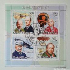 Sellos: GUINEA BISSAU PIONEROS DE LA AVIACIÓN HOJA BLOQUE DE SELLOS USADOS. Lote 246049925