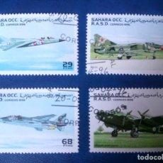 Timbres: AVIONES DE COMBATE, SAHARA 1996, MIRAGE G8, MIG 23, JAGUAR Y HALIFAX. Lote 248173485