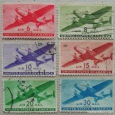 Timbres: 1941. ESTADOS UNIDOS. A-26 / A-31. AVIACIÓN. BIMOTOR EN EL AIRE. USADO.. Lote 249461860