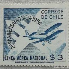 Timbres: 1954. CHILE. A-156. 25 ANIV. DE LA FUNDACIÓN DE LA LÍNEA AÉREA LAN. SERIE COMPLETA. NUEVO.. Lote 249596950