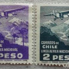 Timbres: 1931. CHILE. A-27, A-28. AVIÓN POR ENCIMA DE LAS MONTAÑAS. LÍNEA AÉREA NACIONAL (LAN). USADO.. Lote 249597025