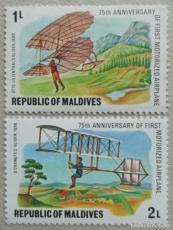 1978. MALDIVAS. 684, 685. HISTORIA DE LA AVIACIÓN. 75 AÑOS DEL PRIMER VUELO A MOTOR. NUEVO. (Sellos - Temáticas - Aviones)