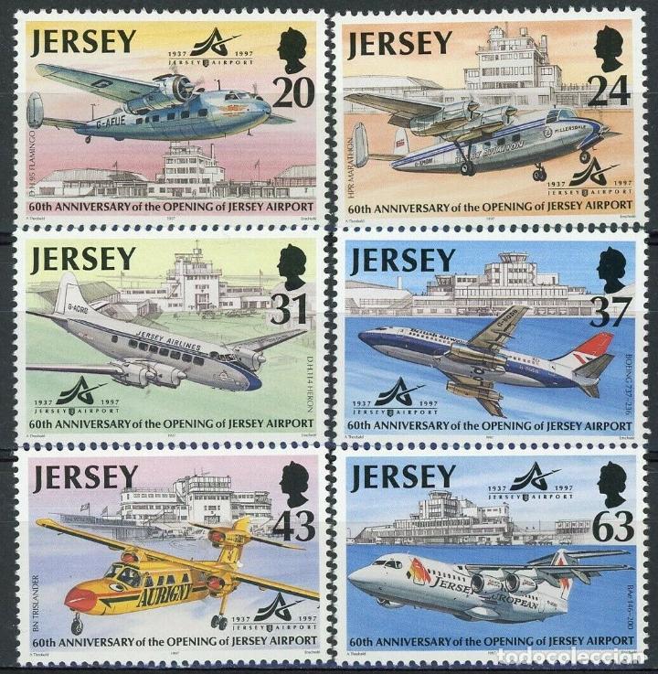 JERSEY 1997 IVERT 771/6 *** HISTORIA DE LA AVIACIÓN (VI) - AVIONES DE LINEA (Sellos - Temáticas - Aviones)
