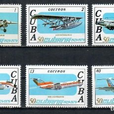 Sellos: ⚡ DISCOUNT CUBA 1979 THE 50TH ANNIVERSARY OF THE CUBAN AIRLINES MNH - AIRCRAFT. Lote 255625590