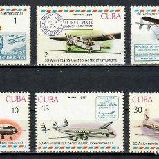 Sellos: ⚡ DISCOUNT CUBA 1977 THE 50TH ANNIVERSARY OF CUBAN AIRMAIL MNH - AVIATION, AIRCRAFT. Lote 255625995