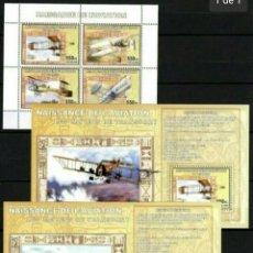 Sellos: PIONEROS DE LA AVIACION 3 HOJAS BLOQUE DE SELLOS NUEVOS DE REPÚBLICA DEL CONGO. Lote 258089175