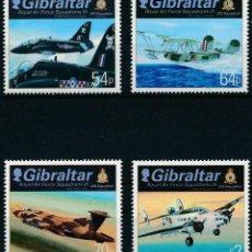 Sellos: GIBRALTAR 2014 IVERT 1644/7 *** ESCUADRONES DE LA ROYAL AIR FORCE - AVIONES. Lote 259219855